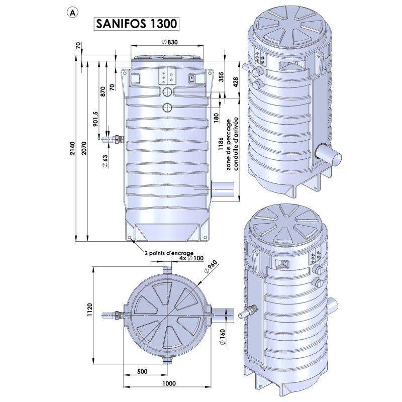 sanifos 1300 Tank Dimension